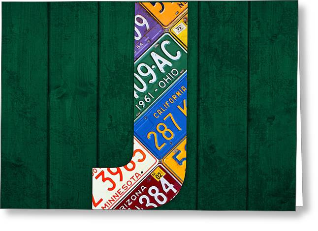 Letter J Greeting Cards - Letter J Alphabet Vintage License Plate Art Greeting Card by Design Turnpike