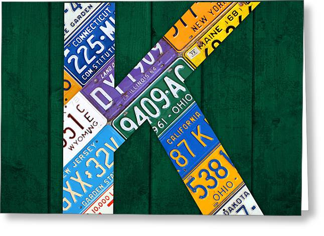 Letter Greeting Cards - Letter K Alphabet Vintage License Plate Art Greeting Card by Design Turnpike