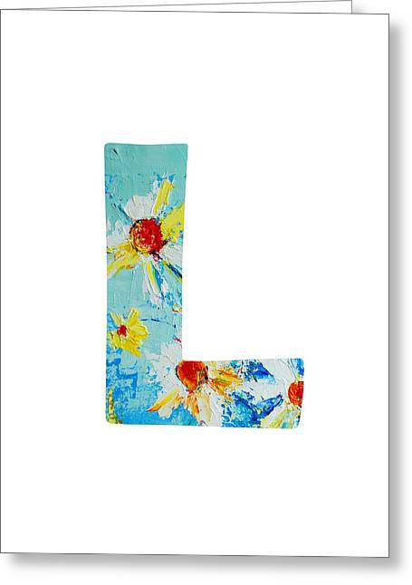 Kids Wall Art Greeting Cards - Letter L Alphabet A Floral Expression Greeting Card by Patricia Awapara