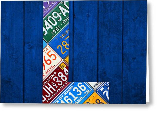 Letters Greeting Cards - Letter L Alphabet Vintage License Plate Art Greeting Card by Design Turnpike