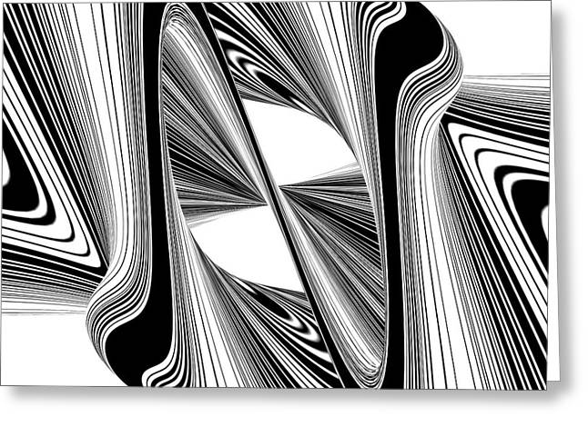 Abstract Waves Sculptures Greeting Cards - Letter N In Geometric Twisted Wave Blac And White Shape Greeting Card by Nenad  Cerovic