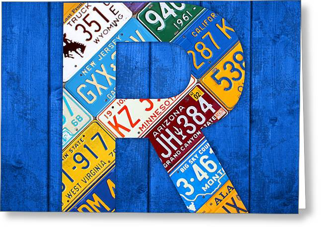 Letter R Alphabet Vintage License Plate Art Greeting Card by Design Turnpike