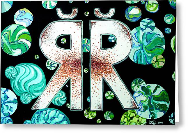 Bubbly Paintings Greeting Cards - Letter R with Hook Greeting Card by Daniel Janda