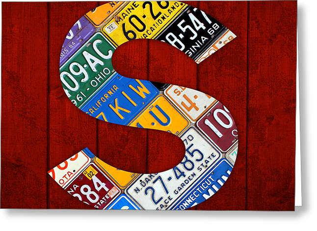 Carolina Mixed Media Greeting Cards - Letter S Alphabet Vintage License Plate Art Greeting Card by Design Turnpike