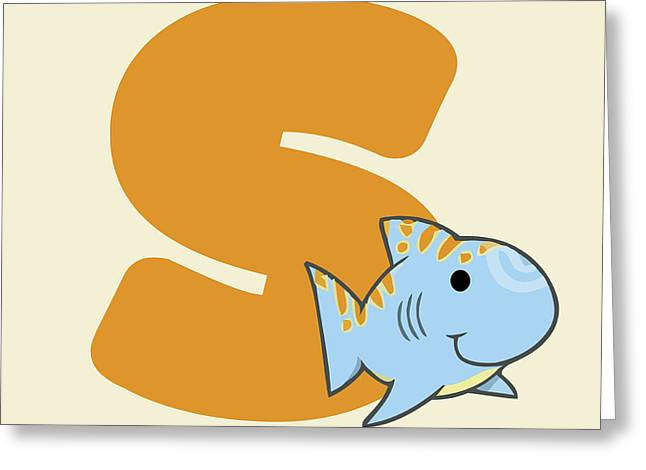 Baby Shark Greeting Cards - Letter S Greeting Card by Gina Dsgn