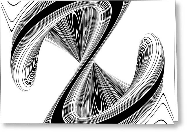 Abstract Waves Sculptures Greeting Cards - Letter S In Geometric Twisted Wave Blac And White Shape Greeting Card by Nenad  Cerovic