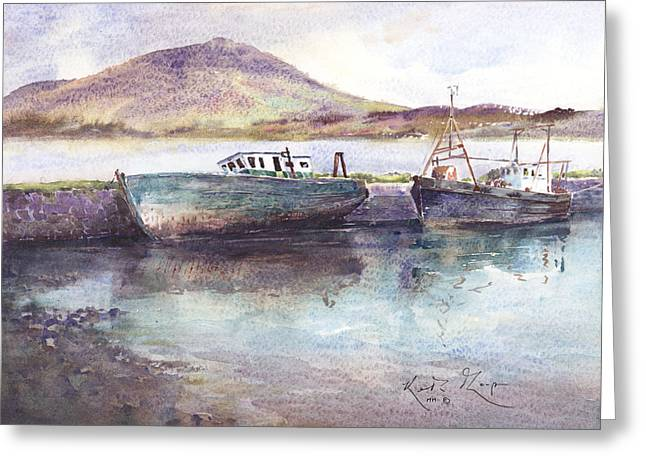 print Paintings Greeting Cards - Letterfrack Harbour Connemara County Galway Greeting Card by Keith W Thompson