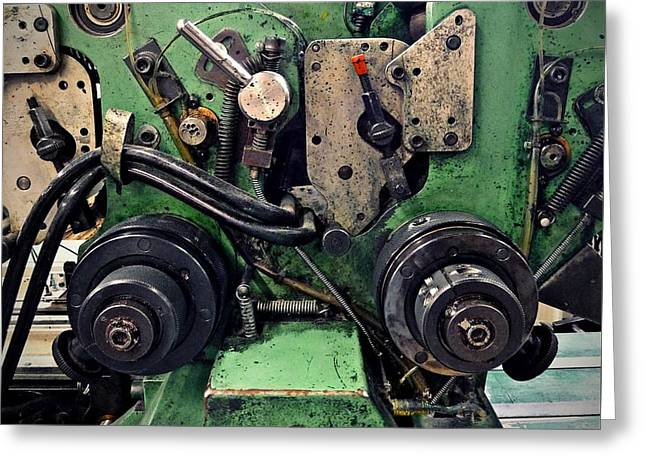 Platen Press Greeting Cards - Letterpress Machine Greeting Card by Patricia Strand