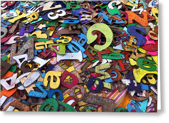 Character Concept Greeting Cards - Letters and Numbers Greeting Card by Art Block Collections