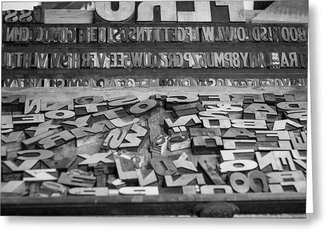 Printmaking Photographs Greeting Cards - Letters Greeting Card by Chris Bordeleau