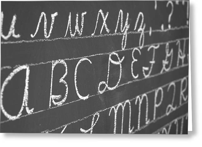 Letters On A Chalkboard Greeting Card by Chevy Fleet