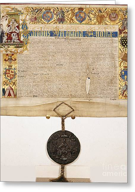 I Write Greeting Cards - Letters Patent Of James I Greeting Card by British Library