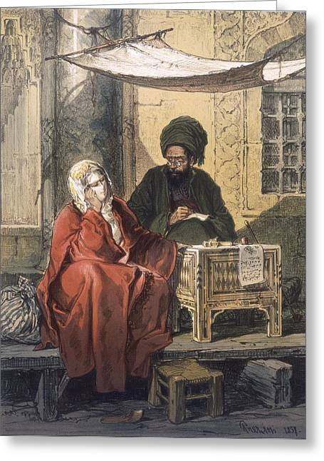 Istanbul Drawings Greeting Cards - Letterwriting, 1858 Greeting Card by Amadeo Preziosi