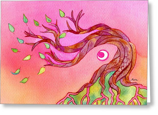 Tree Roots Paintings Greeting Cards - Letting Go Greeting Card by Aura Lesnjak