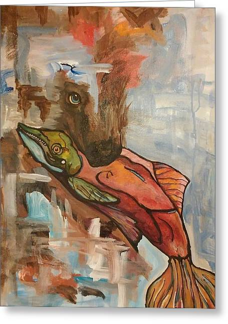 Salmon Paintings Greeting Cards - Letting Go Greeting Card by Dianica Monticelli