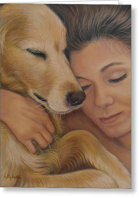 Girl And Animals Greeting Cards - Letting Go Greeting Card by Holly Kallie