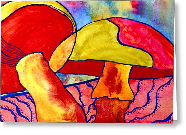 Fungi Paintings Greeting Cards - Letting My Freak Flag Fly Greeting Card by Beverley Harper Tinsley