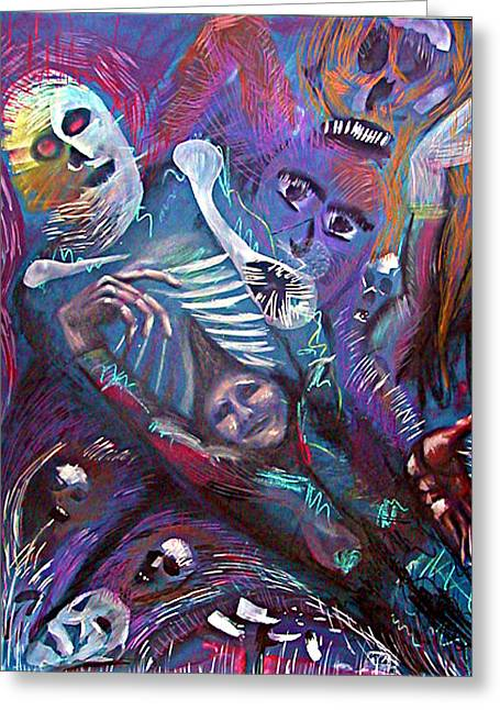 Creepy Pastels Greeting Cards - Letting Out the Scary Greeting Card by David Wallace
