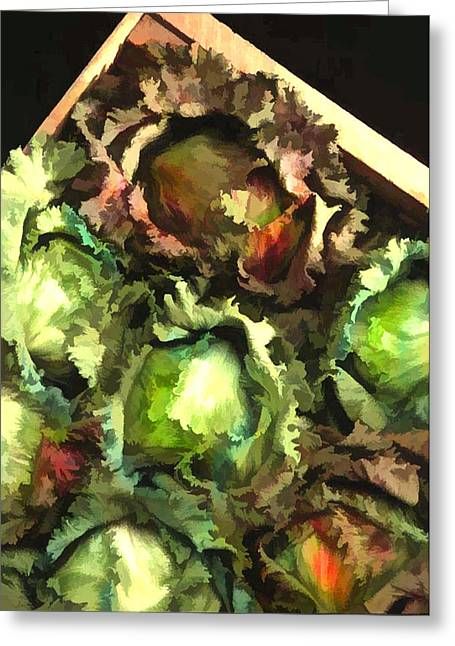 Romaine Paintings Greeting Cards - Lettuce Entertain You Greeting Card by Elaine Plesser