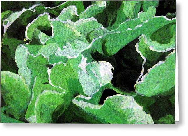 Lettuce Go Green - Food Art Greeting Card by Linda Apple