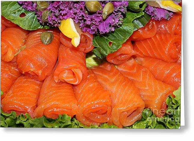 Lox Greeting Cards - Lettuce Lox and Capers Greeting Card by Nina Silver