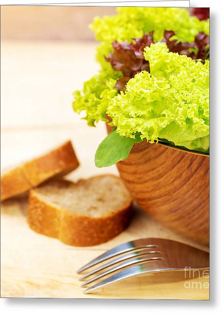 Lettuce Greeting Cards - Lettuce salad with bread Greeting Card by Anna Omelchenko