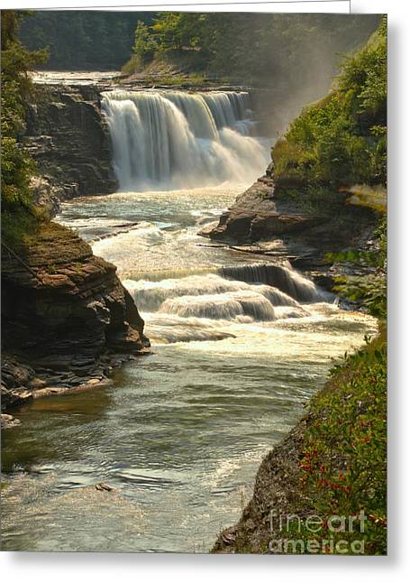 The Grand Canyon Greeting Cards - Letchworth Lower Falls Portrait Greeting Card by Adam Jewell