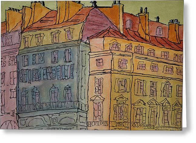 Prague Paintings Greeting Cards - LEurope  Greeting Card by Oscar Penalber