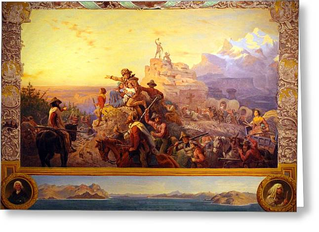 Photograph Of Painter Greeting Cards - Leutzes Westward the Course of Empire Takes Its Way Greeting Card by Cora Wandel