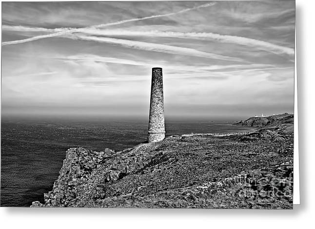 Levant Greeting Cards - Levant to Pendeen View Black and White Greeting Card by Chris Thaxter