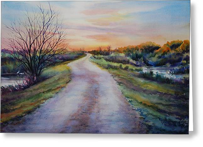 Louisiana Landscape Greeting Cards - Levee Road Greeting Card by Sue Zimmermann