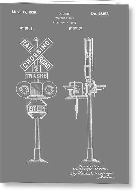 Railroad Crossing Greeting Cards - Level Crossing Patent Greeting Card by Dan Sproul