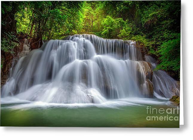 Amazing Sunset Greeting Cards - Level three of Huai Mae Kamin Waterfall  Greeting Card by Anek Suwannaphoom