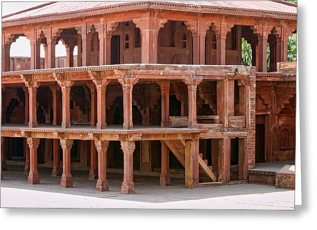 Covered Porch Greeting Cards - Levels in Fatepur Sikri Palace Stone Building Greeting Card by Linda Phelps