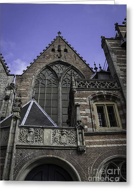 Weathervane Greeting Cards - Levels of the Old Church Amsterdam Greeting Card by Teresa Mucha