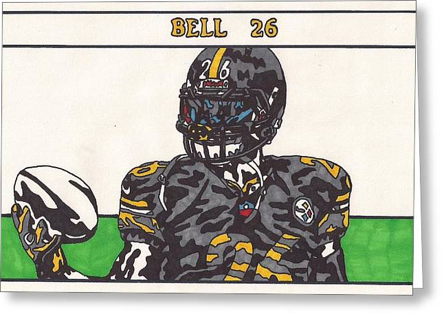 Running Back Drawings Greeting Cards - LeVeon Bell Greeting Card by Jeremiah Colley