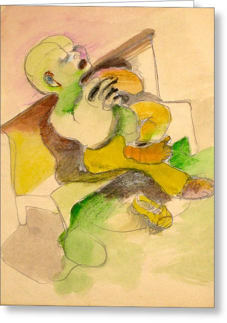 Colored Pencil On Canvas Greeting Cards - Homeless Greeting Card by Moshe BenReuven