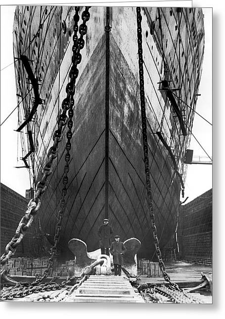Ss Unites States Greeting Cards - Leviathan In Boston Dydock Greeting Card by Underwood Archives