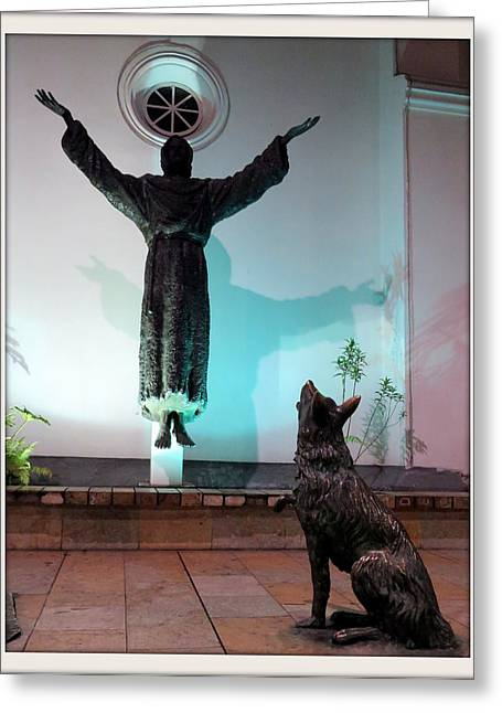 Long Street Greeting Cards - Levitation Saint and  wolf  Greeting Card by Daniel Gomez