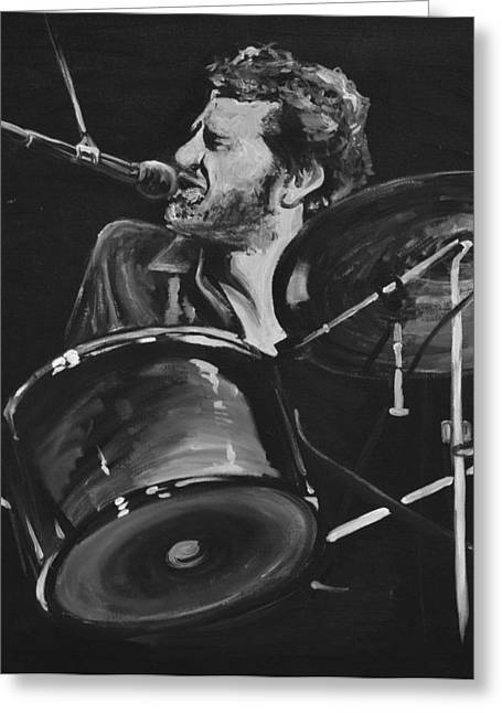 Drummer Greeting Cards - Levon Helm at Drums Greeting Card by Melissa O