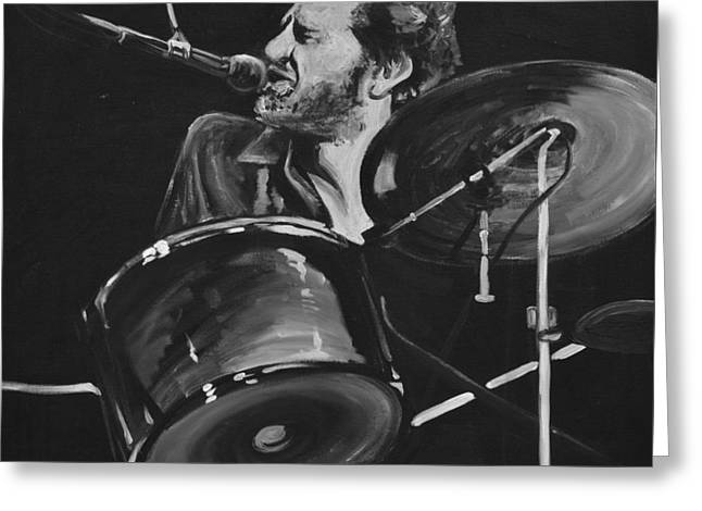 Levon Helm At Drums Greeting Card by Melissa O'Brien
