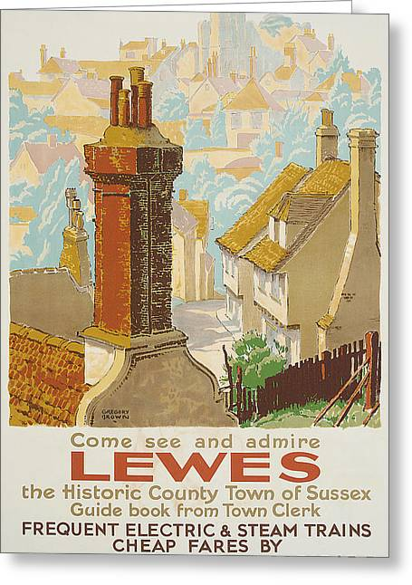1930s Greeting Cards - Lewes Poster Advertising Southern Railway Greeting Card by Gregory Brown