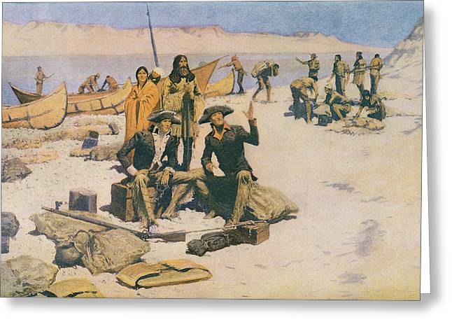 Lewis And Clark At The Mouth Of The Columbia River Greeting Card by Frederic Remington