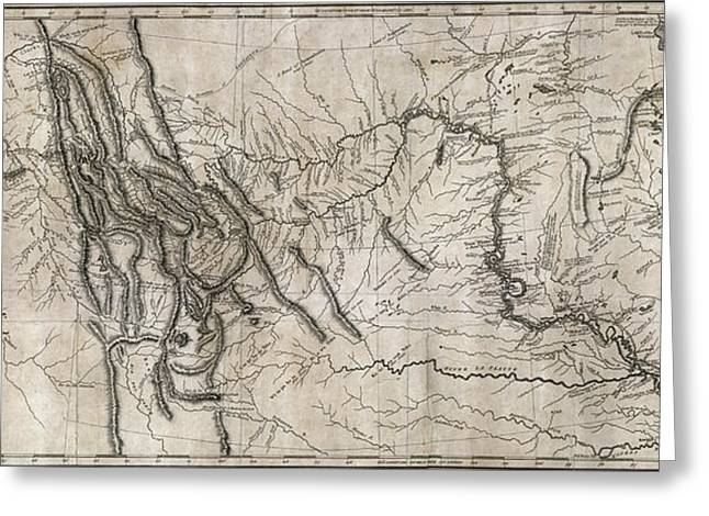 Montana State Map Greeting Cards - LEWIS and CLARK HAND-DRAWN MAP of the UNKNOWN  1804 Greeting Card by Daniel Hagerman