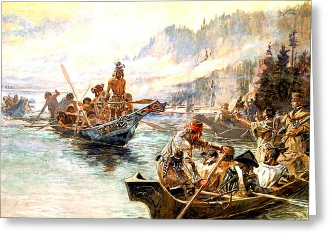 Lewis Greeting Cards - Lewis and Clark on the Lower Columbia  Greeting Card by Charles Russell