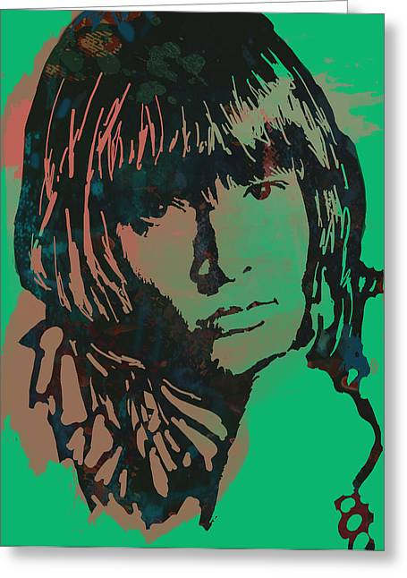 Bandleader Greeting Cards - Lewis Brian Jones - stylised pop art drawing portrait poster  Greeting Card by Kim Wang