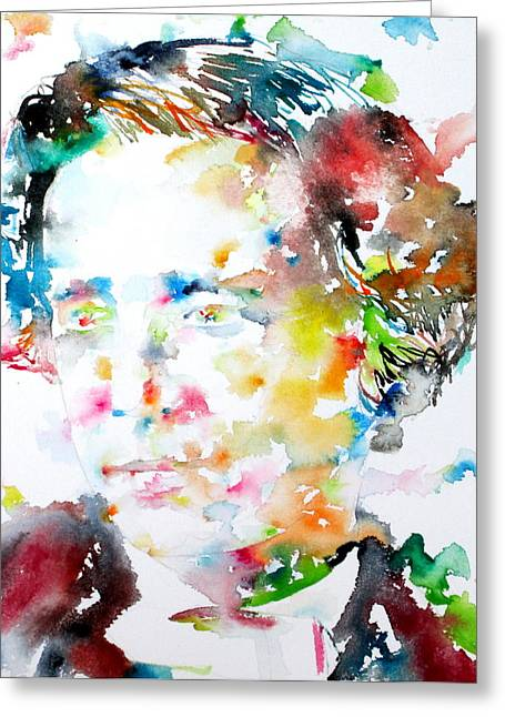 Lewis Carroll Greeting Cards - LEWIS CARROLL - watercolor portrait Greeting Card by Fabrizio Cassetta