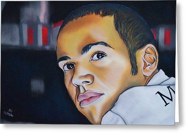 Champion Pastels Greeting Cards - Lewis Hamilton Greeting Card by Kevin Hubbard