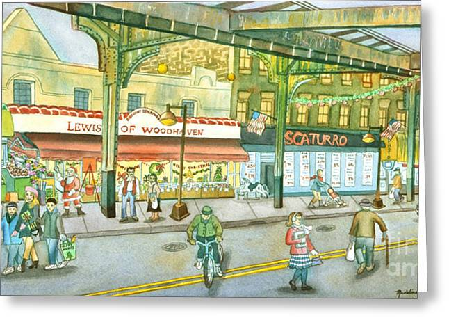Street Scenes Paintings Greeting Cards - Lewis Of Woodhaven Greeting Card by Madeline  Lovallo