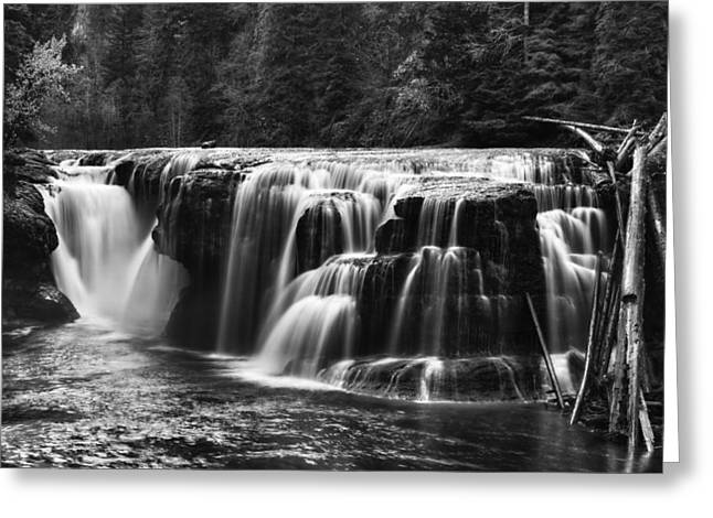 Mark Kiver Greeting Cards - Lewis River Lower Falls black and White Greeting Card by Mark Kiver